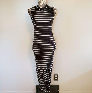 Ribbed Black & White Striped Maxi Dress